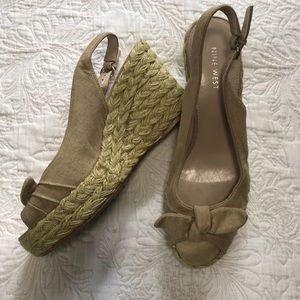 Nine West Peep Toe Espadrille Wedges